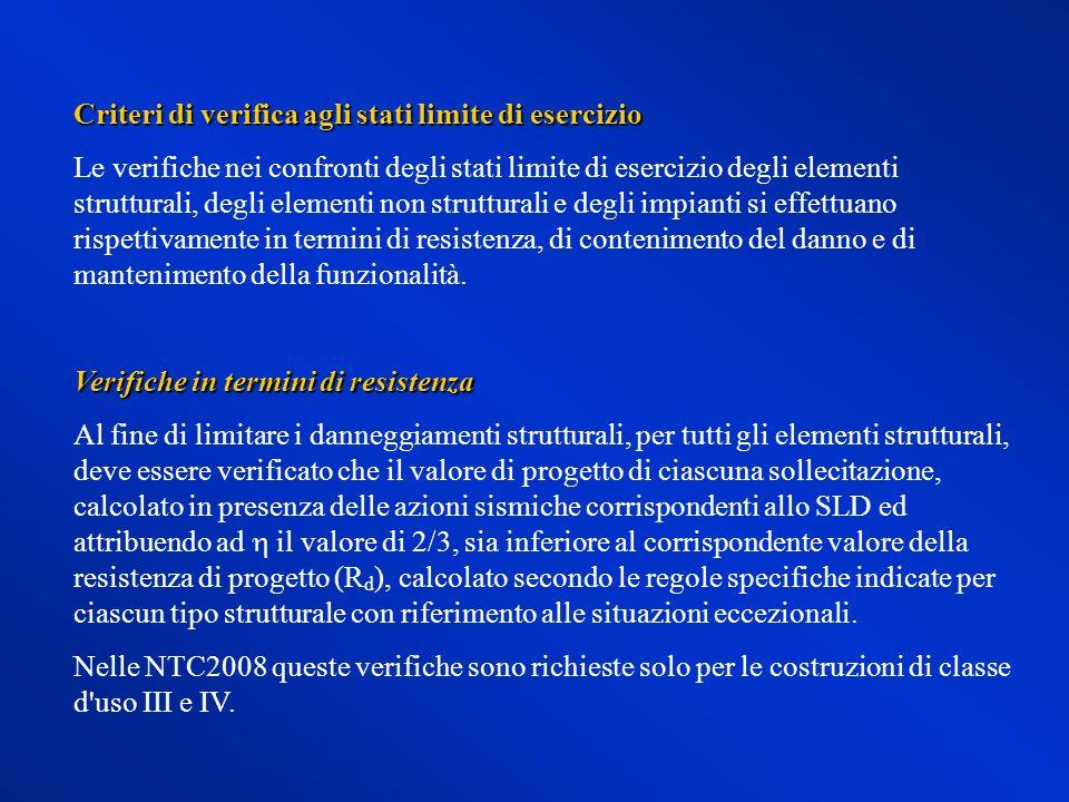Criteri di verifica agli stati limite di esercizio Le verifiche nei confronti degli stati limite di esercizio degli elementi strutturali, degli elemen