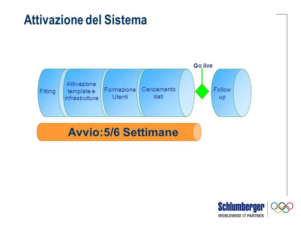 Attivazione del Sistema Fitting Attivazione template e infrastruttura Follow up Go live Avvio:5/6 Settimane Formazione Utenti Caricamento dati