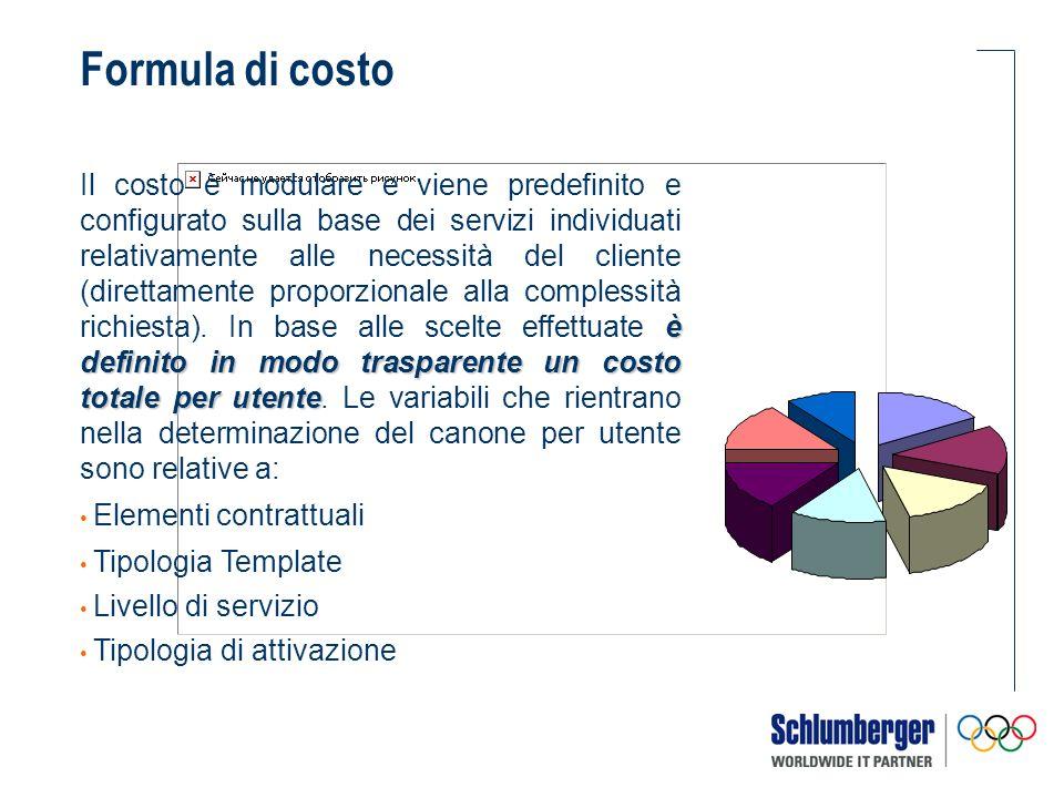 è definito in modo trasparente un costo totale per utente Il costo è modulare e viene predefinito e configurato sulla base dei servizi individuati relativamente alle necessità del cliente (direttamente proporzionale alla complessità richiesta).