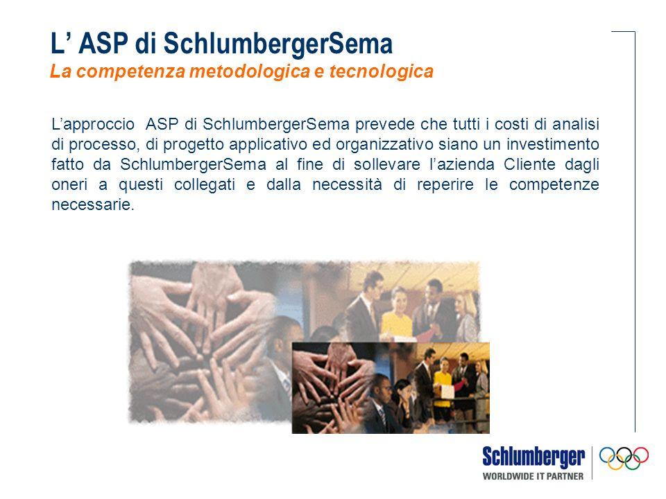 Lapproccio ASP di SchlumbergerSema prevede soluzioni applicative mirate al mercato di riferimento, tali da realizzare programmi di alto contenuto tecnologico a costi contenuti, in quanto le personalizzazioni necessarie sono state anticipate da SchlumbergerSema.