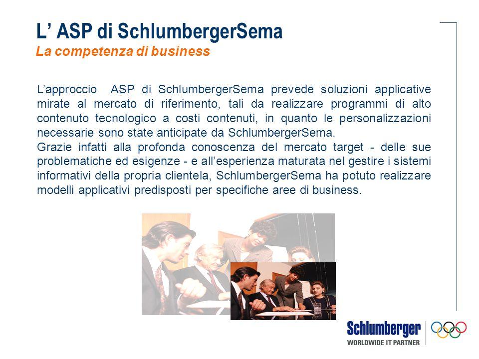 Lapproccio ASP di SchlumbergerSema prevede soluzioni applicative mirate al mercato di riferimento, tali da realizzare programmi di alto contenuto tecn