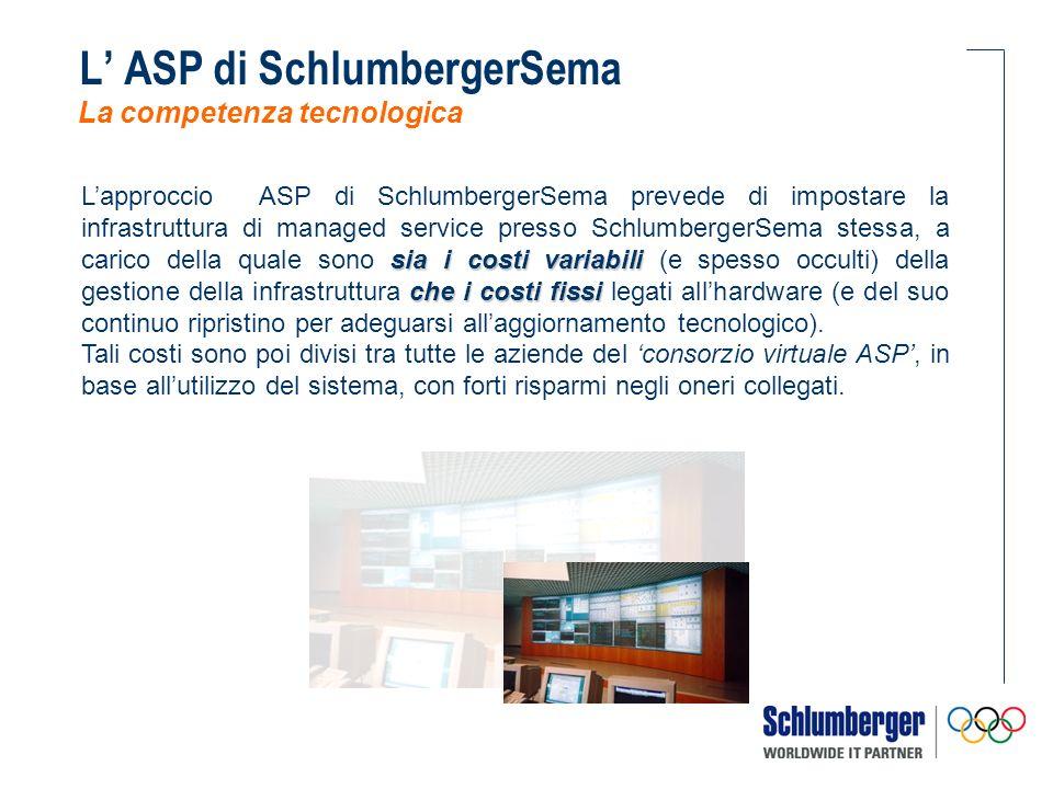 sia i costi variabili che i costi fissi Lapproccio ASP di SchlumbergerSema prevede di impostare la infrastruttura di managed service presso SchlumbergerSema stessa, a carico della quale sono sia i costi variabili (e spesso occulti) della gestione della infrastruttura che i costi fissi legati allhardware (e del suo continuo ripristino per adeguarsi allaggiornamento tecnologico).