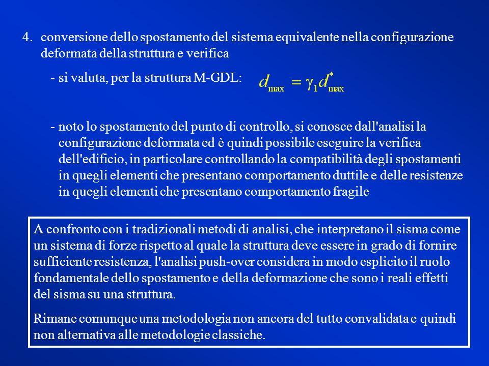 4.conversione dello spostamento del sistema equivalente nella configurazione deformata della struttura e verifica si valuta, per la struttura M-GDL: