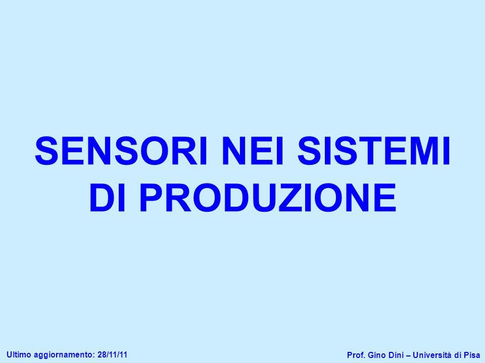 SENSORI NEI SISTEMI DI PRODUZIONE Prof. Gino Dini – Università di Pisa Ultimo aggiornamento: 28/11/11