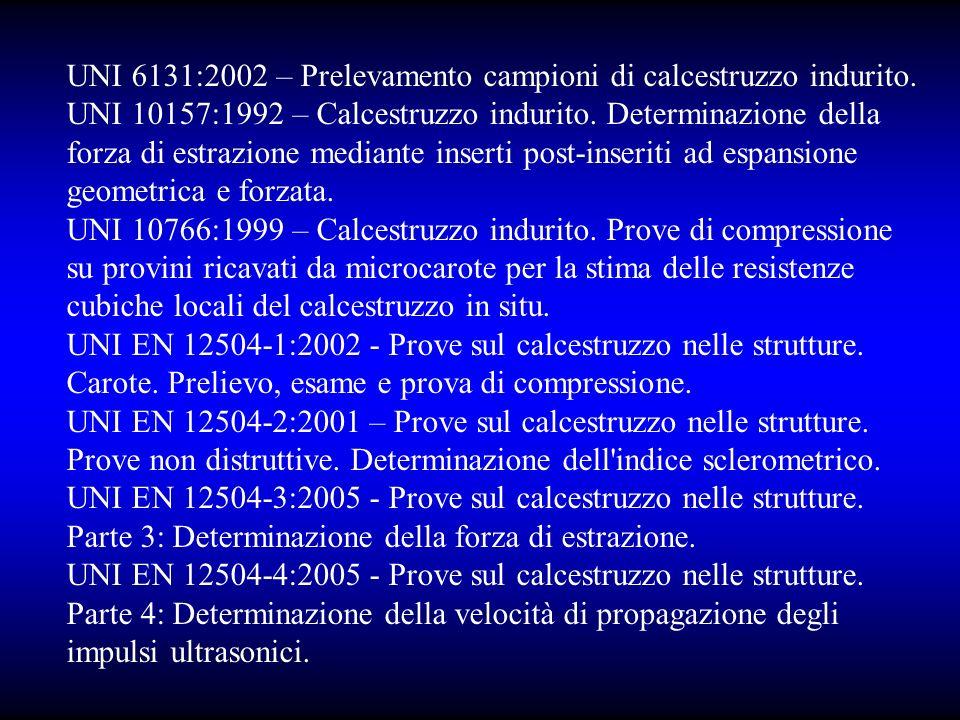 UNI 6131:2002 – Prelevamento campioni di calcestruzzo indurito.
