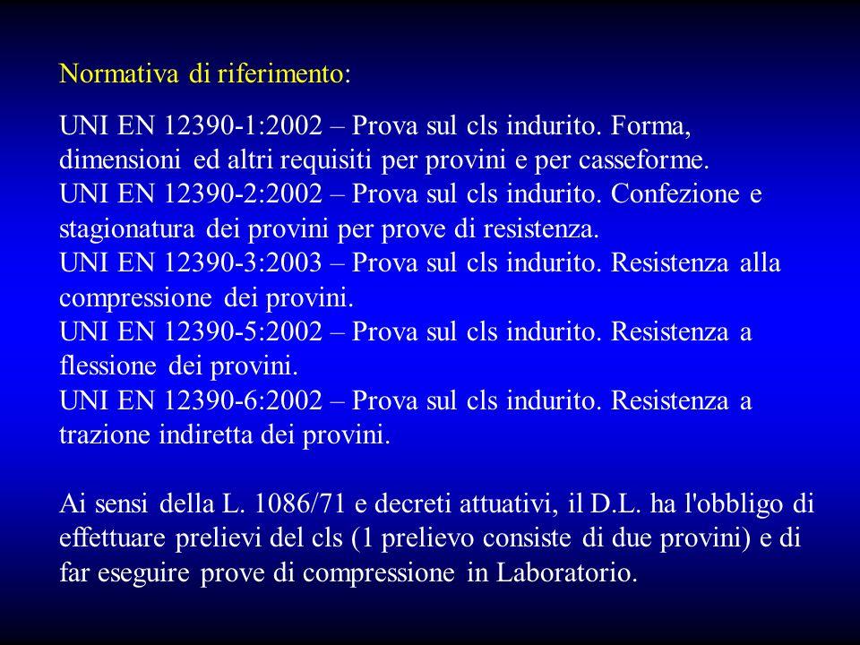 Normativa di riferimento: UNI EN 12390-1:2002 – Prova sul cls indurito.
