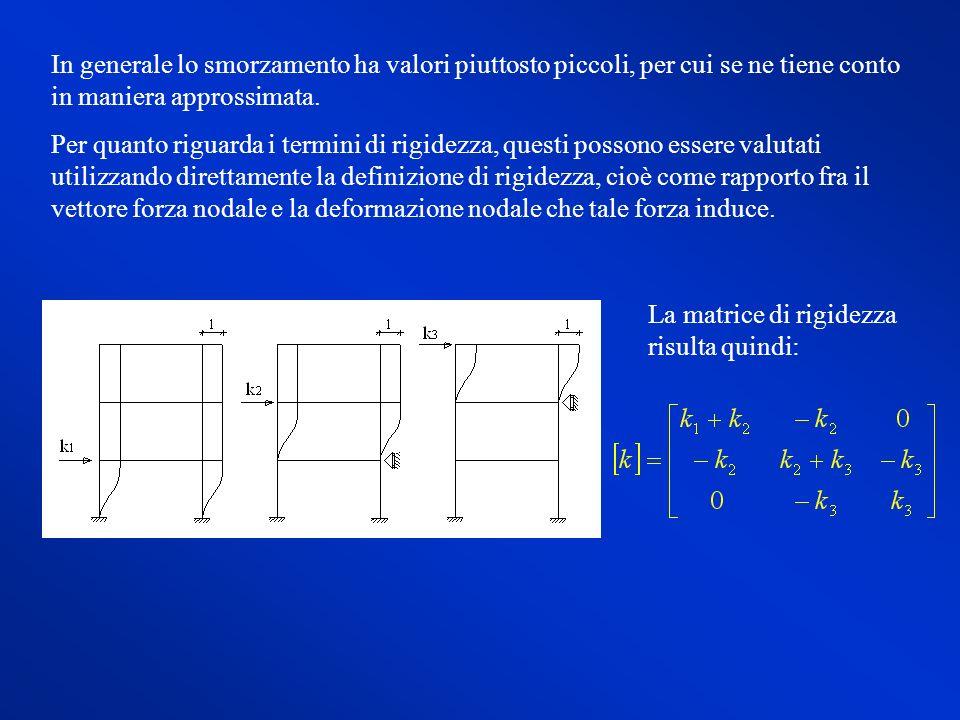 Tale matrice può essere scritta anche nella forma: In generale, per un telaio ad n piani, nel sistema di equazioni differenziali: si ha:vettore degli spostamenti dei piani