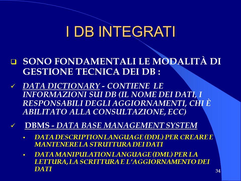 34 I DB INTEGRATI SONO FONDAMENTALI LE MODALITÀ DI GESTIONE TECNICA DEI DB : DATA DICTIONARY - CONTIENE LE INFORMAZIONI SUI DB (IL NOME DEI DATI, I RE