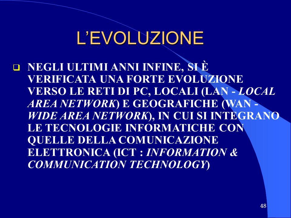 48 LEVOLUZIONE NEGLI ULTIMI ANNI INFINE, SI È VERIFICATA UNA FORTE EVOLUZIONE VERSO LE RETI DI PC, LOCALI (LAN - LOCAL AREA NETWORK) E GEOGRAFICHE (WA