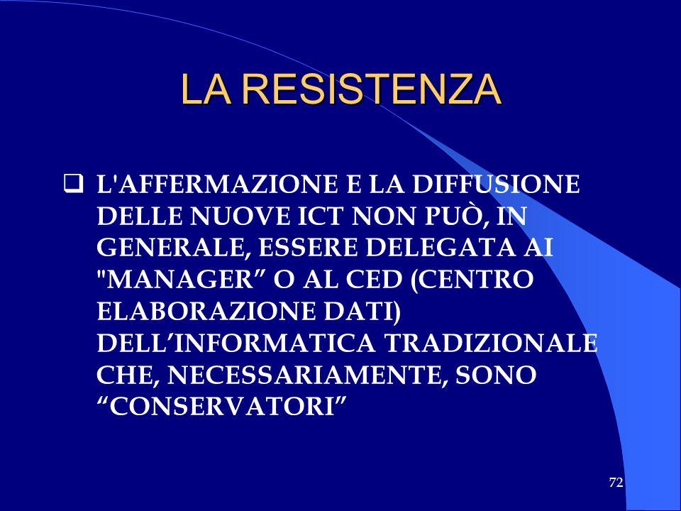 72 L'AFFERMAZIONE E LA DIFFUSIONE DELLE NUOVE ICT NON PUÒ, IN GENERALE, ESSERE DELEGATA AI