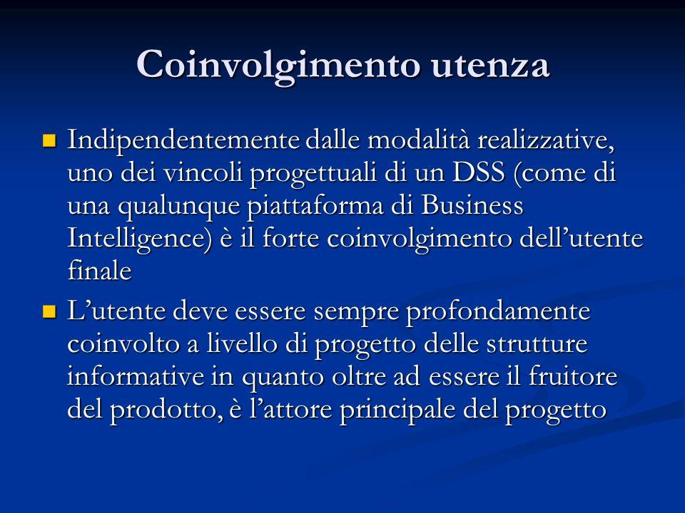 Coinvolgimento utenza Indipendentemente dalle modalità realizzative, uno dei vincoli progettuali di un DSS (come di una qualunque piattaforma di Busin