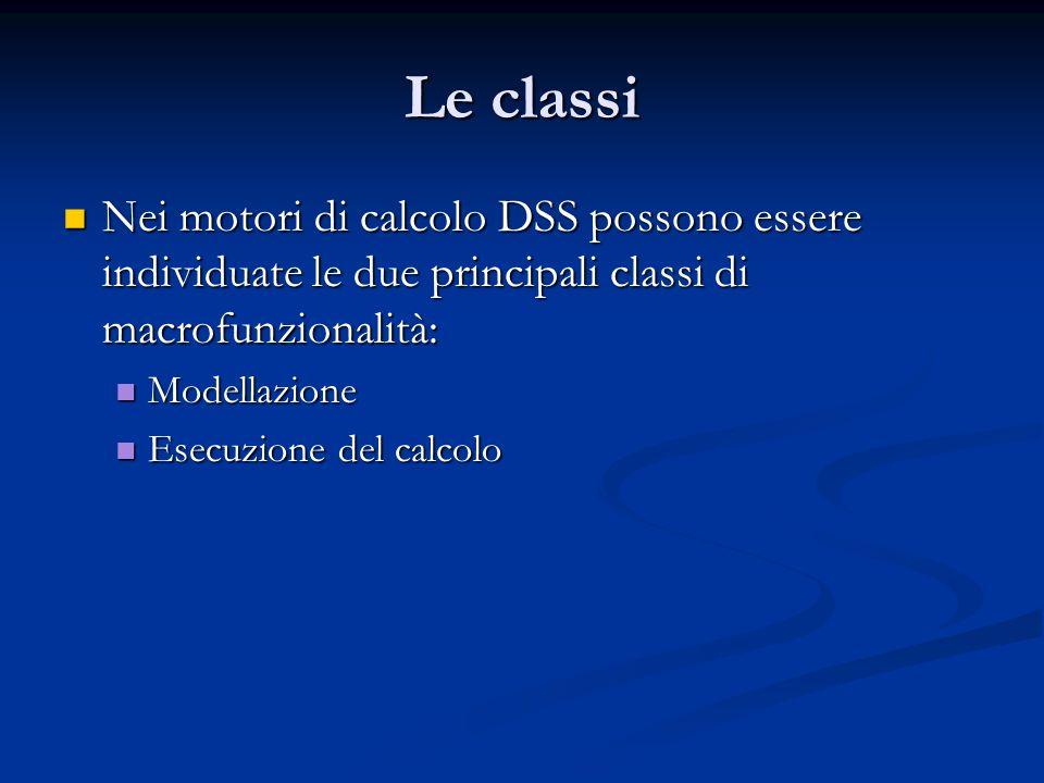Le classi Nei motori di calcolo DSS possono essere individuate le due principali classi di macrofunzionalità: Nei motori di calcolo DSS possono essere