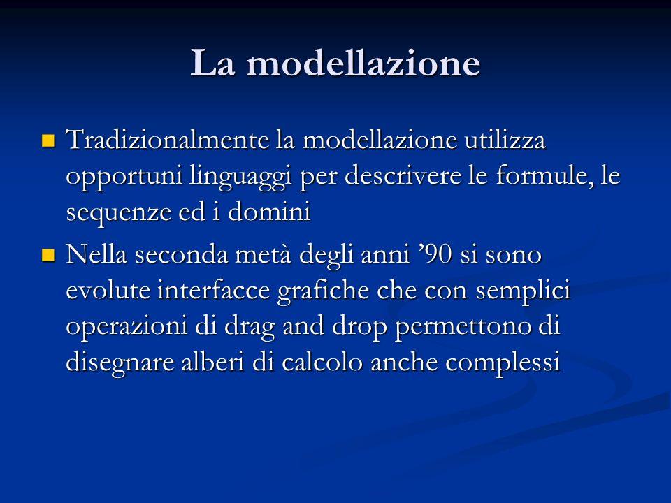 La modellazione Tradizionalmente la modellazione utilizza opportuni linguaggi per descrivere le formule, le sequenze ed i domini Tradizionalmente la m