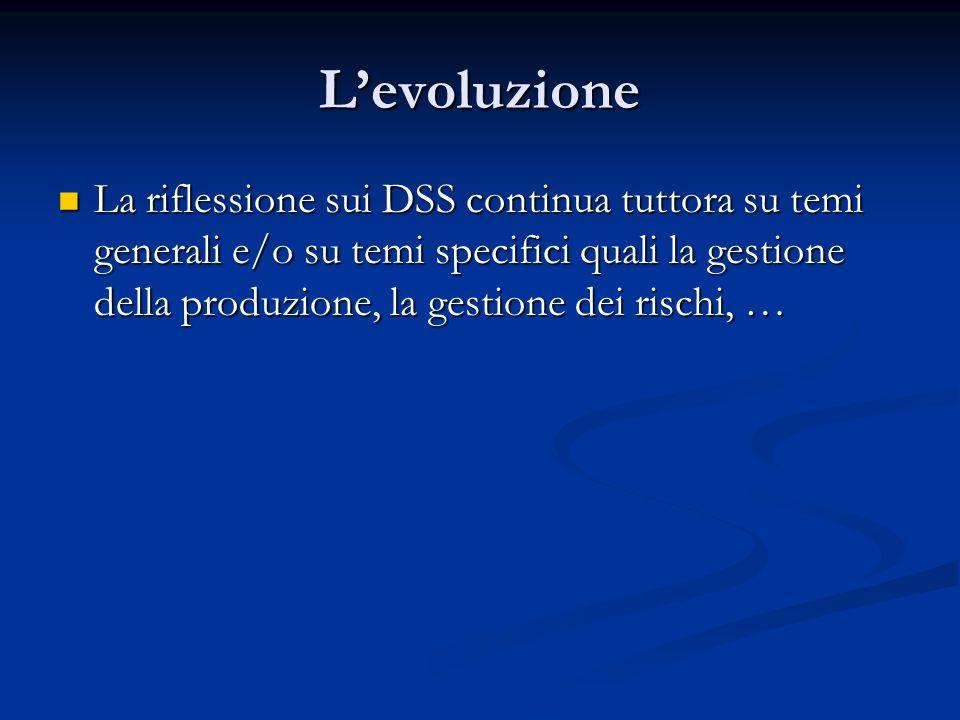 Levoluzione La riflessione sui DSS continua tuttora su temi generali e/o su temi specifici quali la gestione della produzione, la gestione dei rischi,