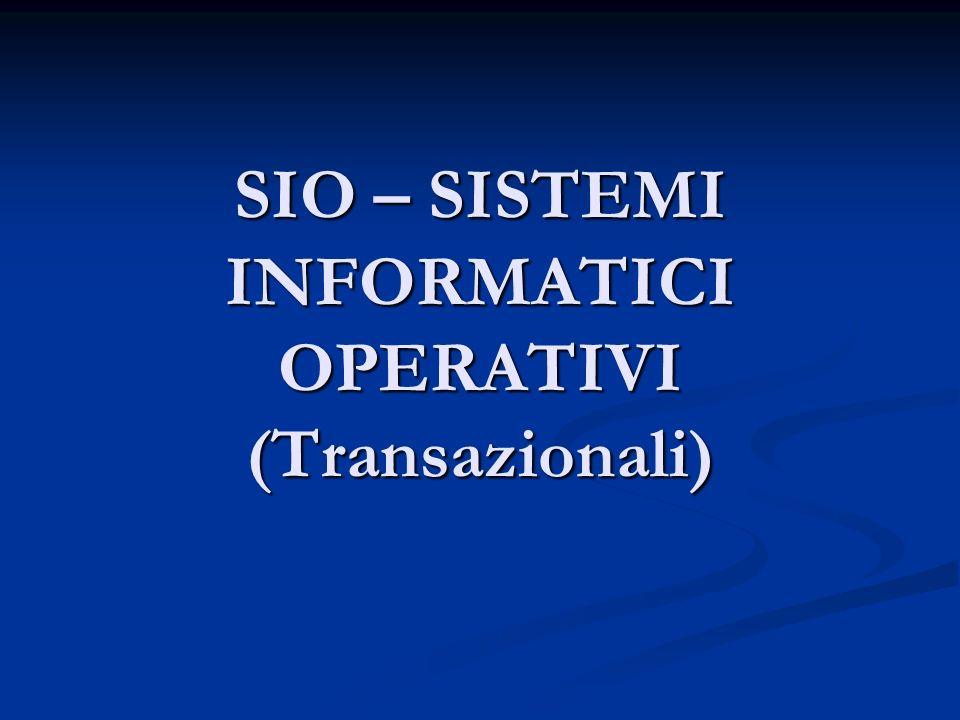 SIO – SISTEMI INFORMATICI OPERATIVI (Transazionali)