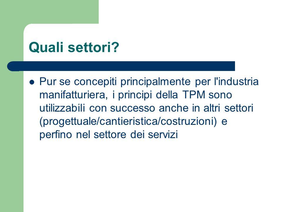 Quali settori? Pur se concepiti principalmente per l'industria manifatturiera, i principi della TPM sono utilizzabili con successo anche in altri sett