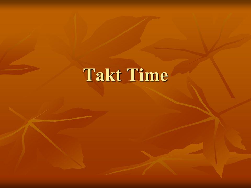 Cosè Il Takt Time rappresenta il ritmo della produzione Il Takt Time rappresenta il ritmo della produzione Si tratta del tempo necessario a produrre un singolo componente o l intero prodotto, noto anche come Ritmo delle Vendite Si tratta del tempo necessario a produrre un singolo componente o l intero prodotto, noto anche come Ritmo delle Vendite Takt-Time = (Tempo totale giornaliero disponibile)/ (Richiesta cliente/giorno) Takt-Time = (Tempo totale giornaliero disponibile)/ (Richiesta cliente/giorno)
