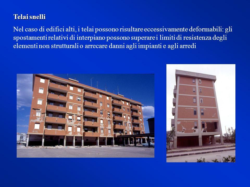 Telai snelli Nel caso di edifici alti, i telai possono risultare eccessivamente deformabili: gli spostamenti relativi di interpiano possono superare i