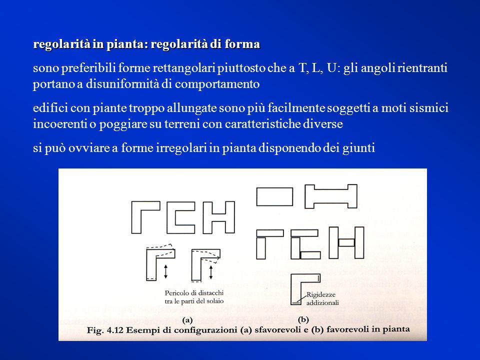 regolarità in pianta: regolarità di forma sono preferibili forme rettangolari piuttosto che a T, L, U: gli angoli rientranti portano a disuniformità d