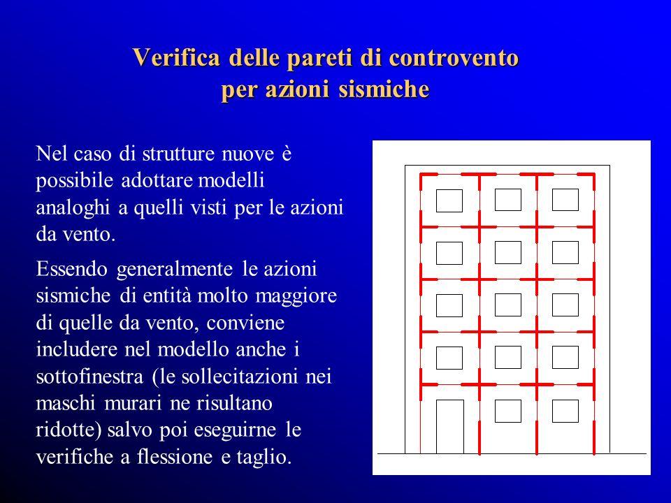 Verifica delle pareti di controvento per azioni sismiche Nel caso di strutture nuove è possibile adottare modelli analoghi a quelli visti per le azioni da vento.