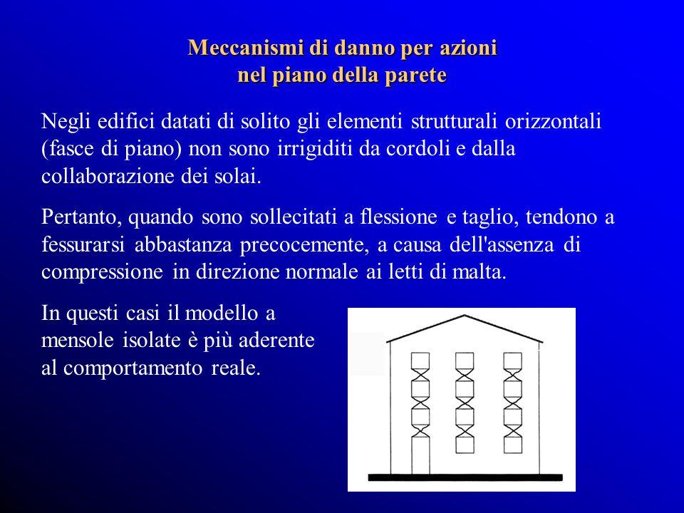 Negli edifici datati di solito gli elementi strutturali orizzontali (fasce di piano) non sono irrigiditi da cordoli e dalla collaborazione dei solai.