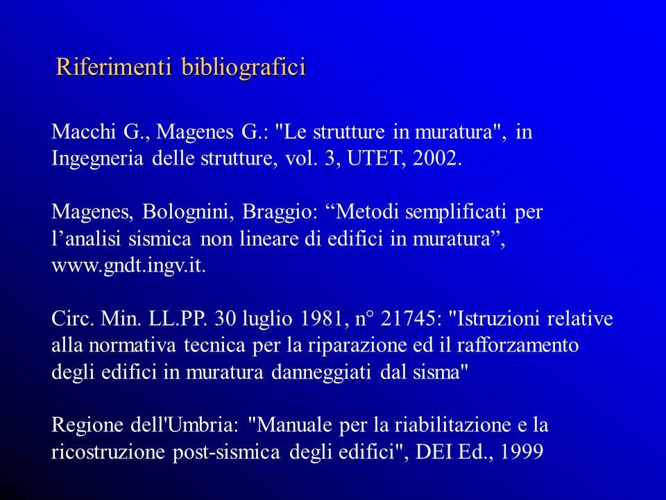 Macchi G., Magenes G.: Le strutture in muratura , in Ingegneria delle strutture, vol.