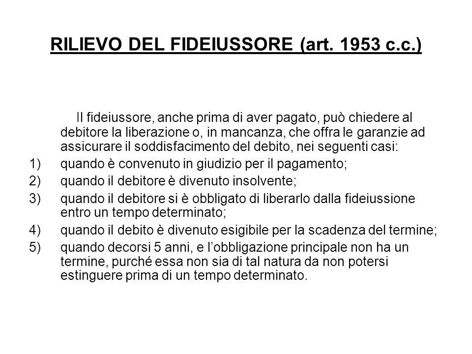 RILIEVO DEL FIDEIUSSORE (art. 1953 c.c.) Il fideiussore, anche prima di aver pagato, può chiedere al debitore la liberazione o, in mancanza, che offra