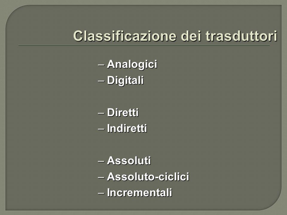 –Analogici –Digitali –Diretti –Indiretti –Assoluti –Assoluto-ciclici –Incrementali