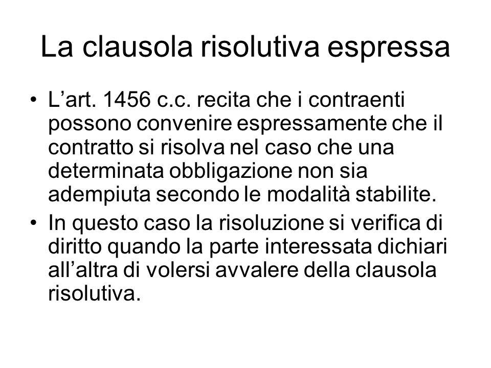 Il buon senso contrattuale La clausola risolutiva deve comunque essere conforme a buona fede contrattuale.