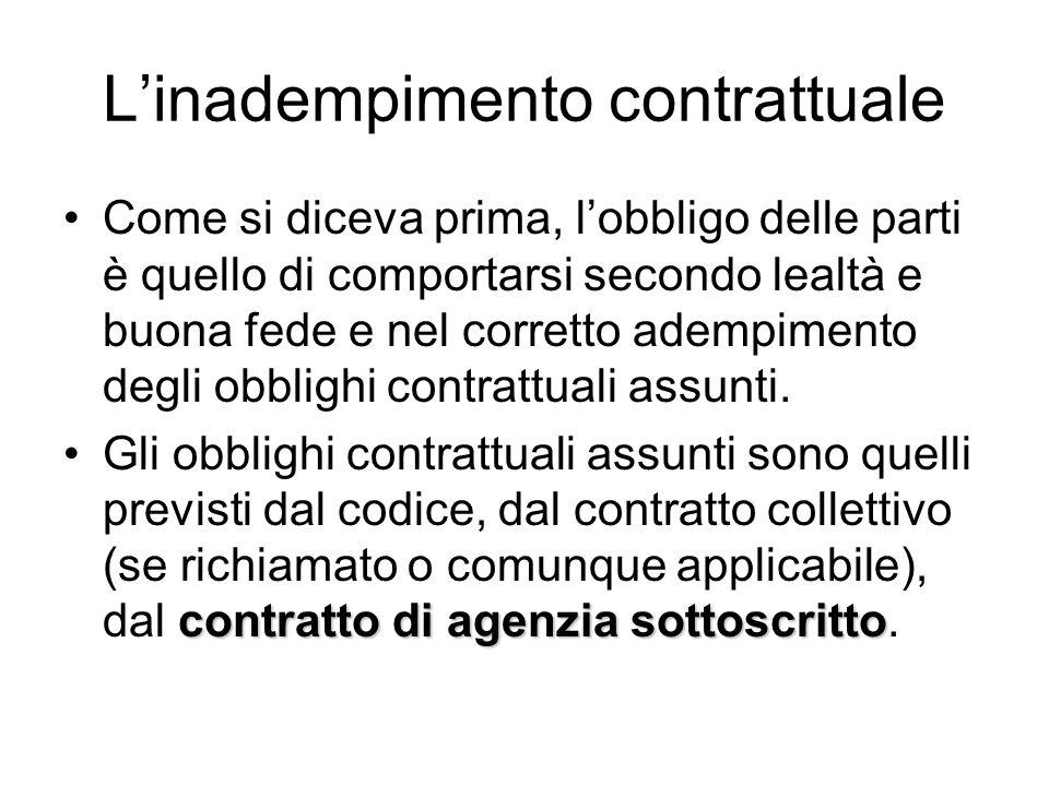 La violazione al dovere contrattuale La violazione ai doveri contrattuali costituisce inadempimento.