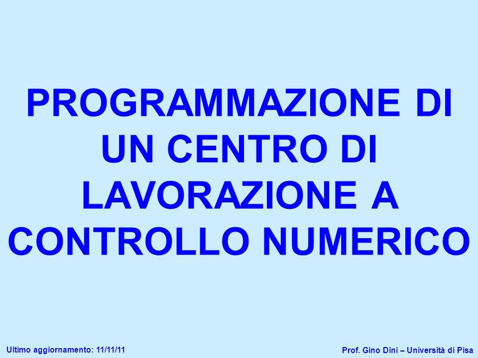 PROGRAMMAZIONE DI UN CENTRO DI LAVORAZIONE A CONTROLLO NUMERICO Prof. Gino Dini – Università di Pisa Ultimo aggiornamento: 11/11/11