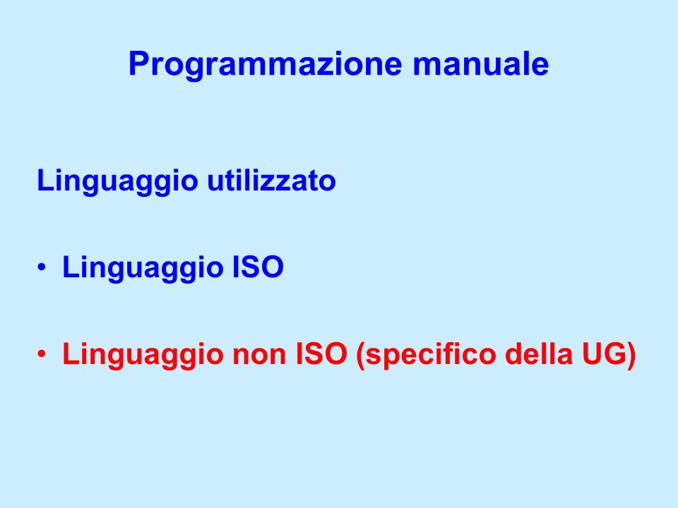 Programmazione manuale Linguaggio utilizzato Linguaggio ISO Linguaggio non ISO (specifico della UG)