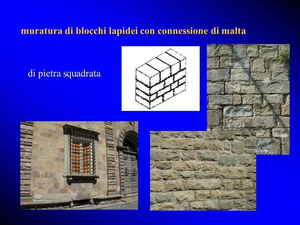 muratura di blocchi lapidei con connessione di malta di pietra squadrata