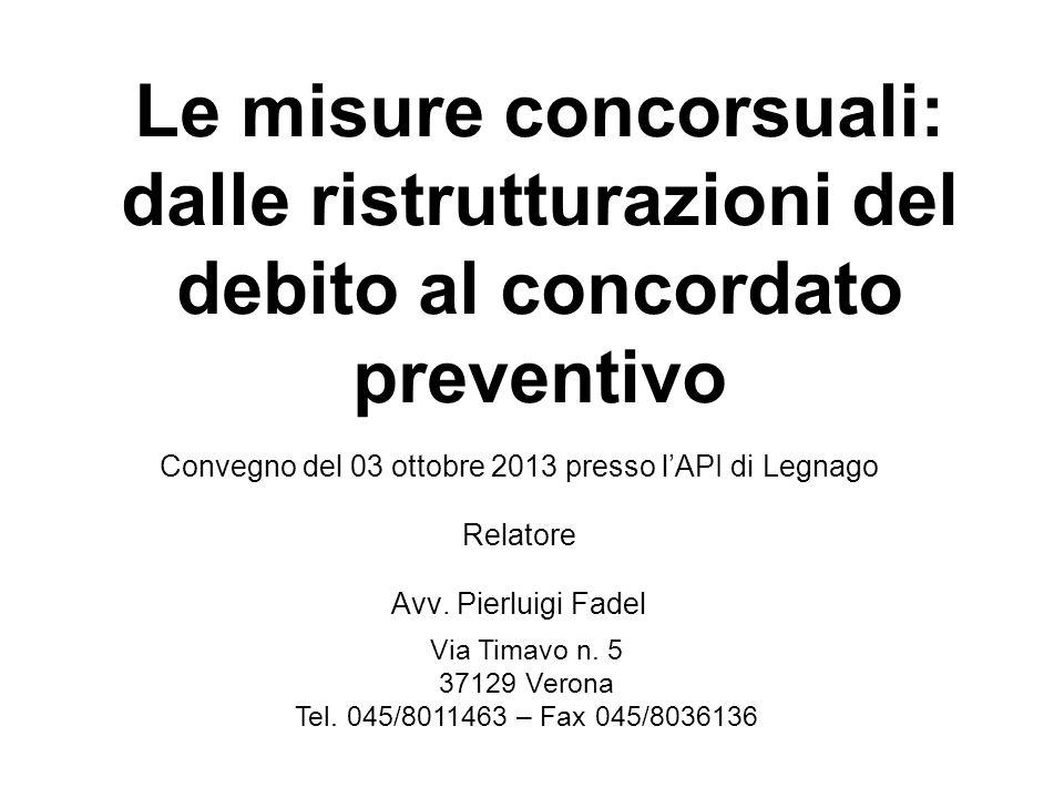 Le misure concorsuali: dalle ristrutturazioni del debito al concordato preventivo Convegno del 03 ottobre 2013 presso lAPI di Legnago Relatore Avv. Pi