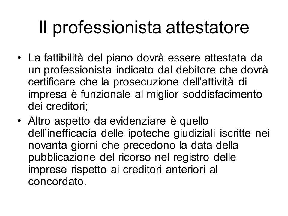 Il professionista attestatore La fattibilità del piano dovrà essere attestata da un professionista indicato dal debitore che dovrà certificare che la