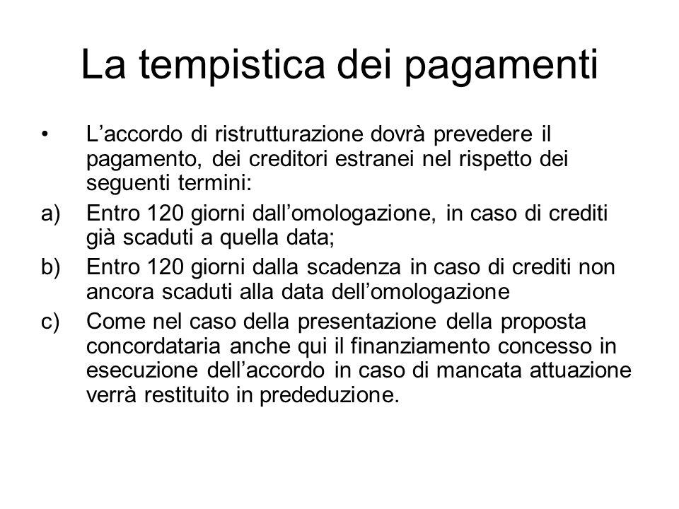 La tempistica dei pagamenti Laccordo di ristrutturazione dovrà prevedere il pagamento, dei creditori estranei nel rispetto dei seguenti termini: a)Ent