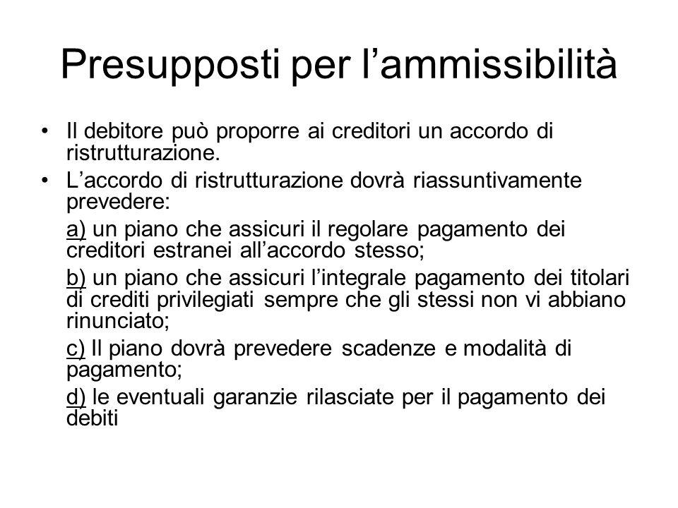 Presupposti per lammissibilità Il debitore può proporre ai creditori un accordo di ristrutturazione. Laccordo di ristrutturazione dovrà riassuntivamen