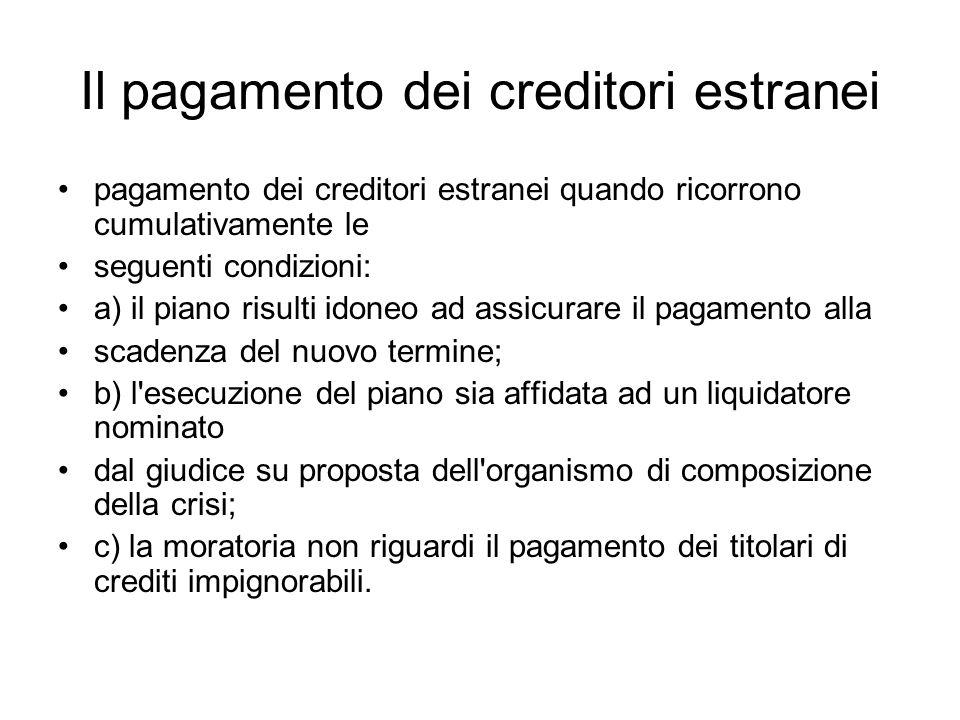 Il pagamento dei creditori estranei pagamento dei creditori estranei quando ricorrono cumulativamente le seguenti condizioni: a) il piano risulti idon