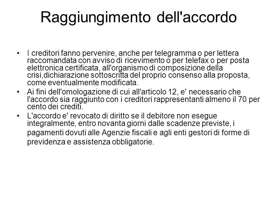 Raggiungimento dell'accordo I creditori fanno pervenire, anche per telegramma o per lettera raccomandata con avviso di ricevimento o per telefax o per