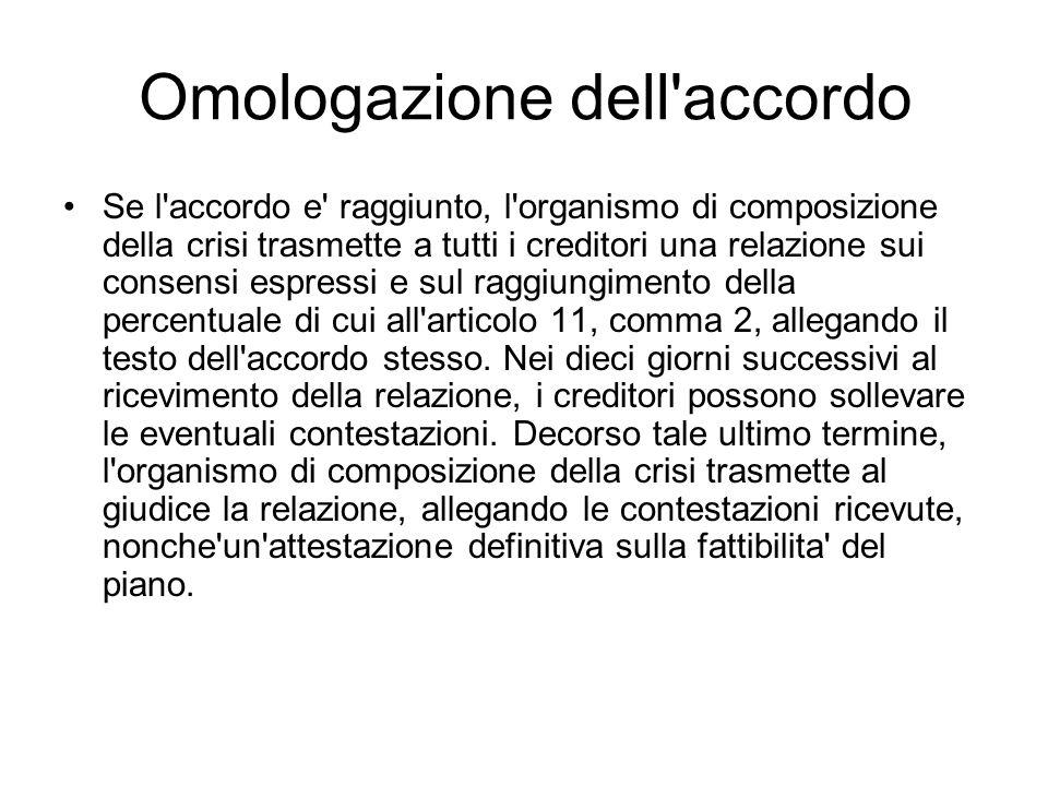 Omologazione dell'accordo Se l'accordo e' raggiunto, l'organismo di composizione della crisi trasmette a tutti i creditori una relazione sui consensi