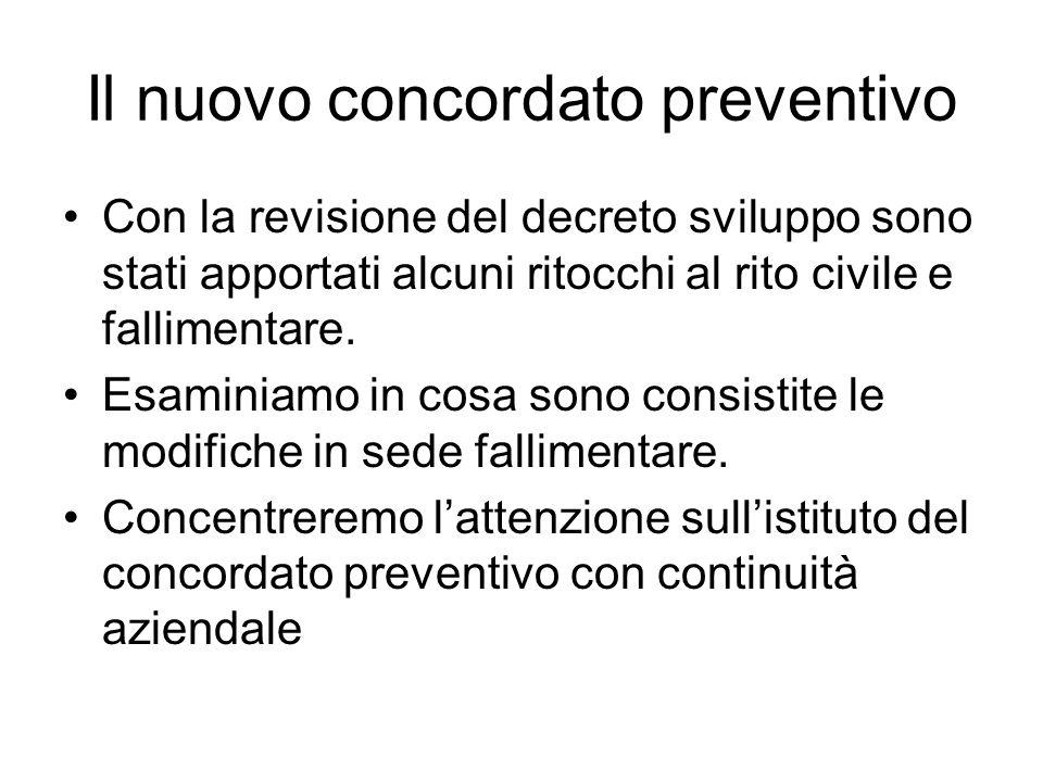 Il nuovo concordato preventivo Con la revisione del decreto sviluppo sono stati apportati alcuni ritocchi al rito civile e fallimentare. Esaminiamo in