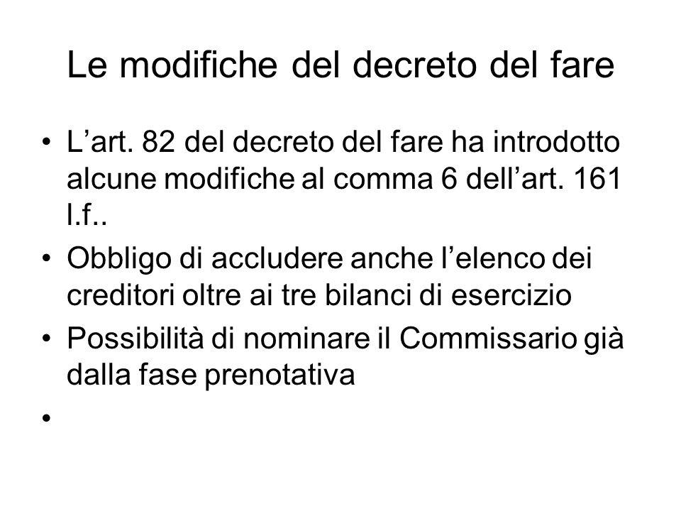 Le modifiche del decreto del fare Lart. 82 del decreto del fare ha introdotto alcune modifiche al comma 6 dellart. 161 l.f.. Obbligo di accludere anch