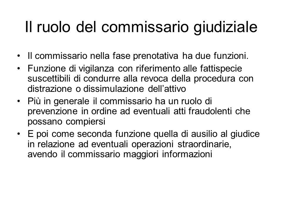 Il ruolo del commissario giudiziale Il commissario nella fase prenotativa ha due funzioni. Funzione di vigilanza con riferimento alle fattispecie susc