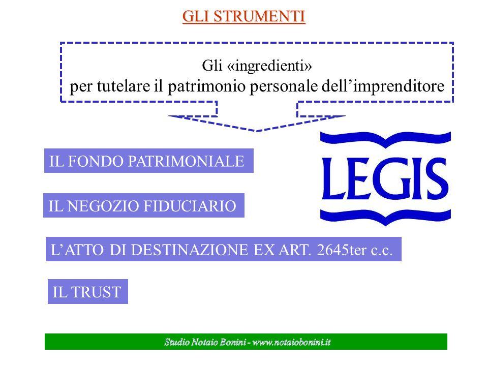 GLI STRUMENTI Gli «ingredienti» per tutelare il patrimonio personale dellimprenditore IL FONDO PATRIMONIALE IL NEGOZIO FIDUCIARIO LATTO DI DESTINAZIONE EX ART.
