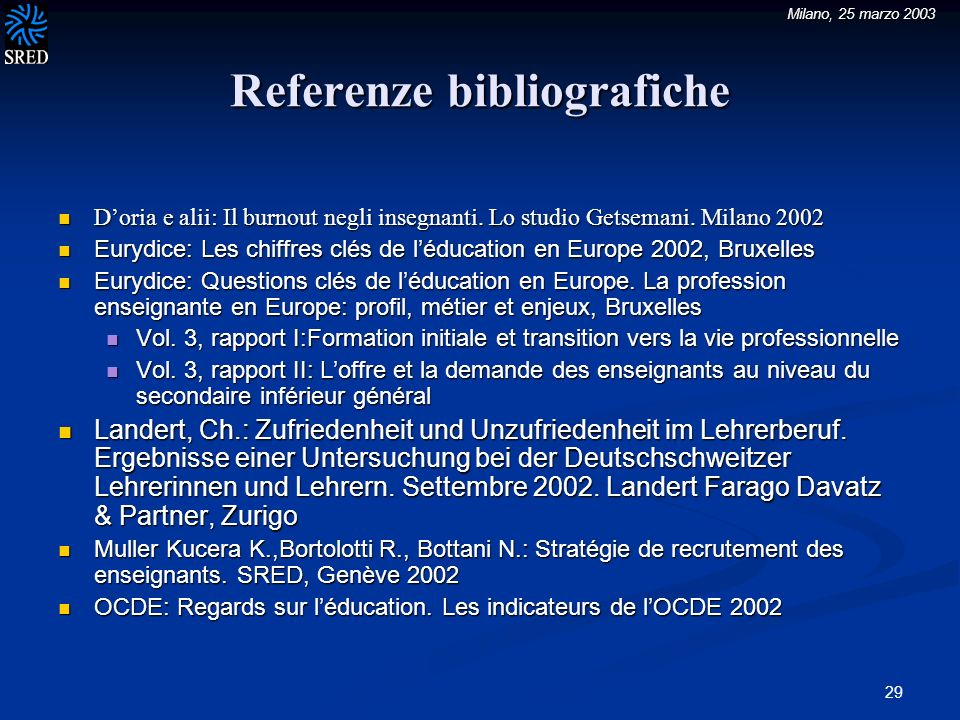 Milano, 25 marzo 2003 29 Referenze bibliografiche Doria e alii: Il burnout negli insegnanti.