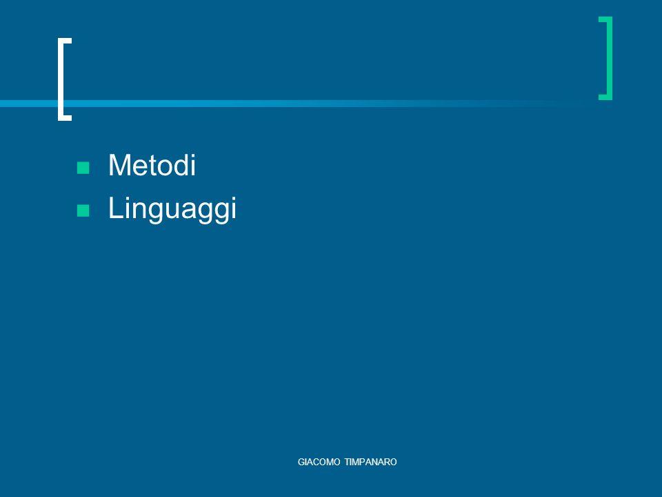 GIACOMO TIMPANARO Metodi Linguaggi