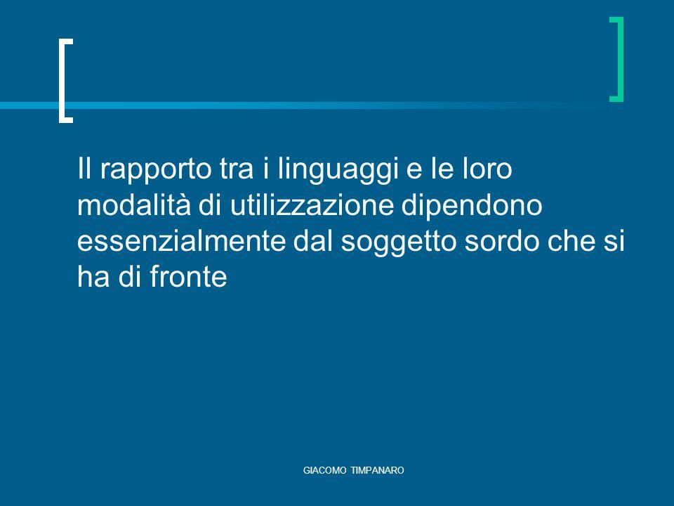 GIACOMO TIMPANARO Il rapporto tra i linguaggi e le loro modalità di utilizzazione dipendono essenzialmente dal soggetto sordo che si ha di fronte