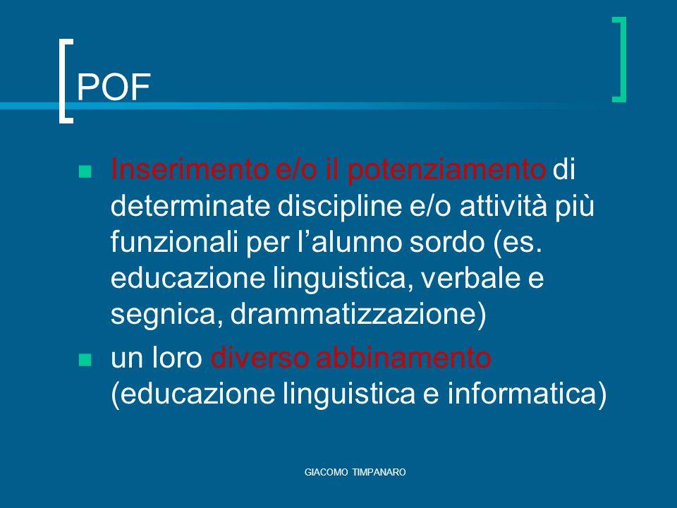 GIACOMO TIMPANARO POF Inserimento e/o il potenziamento di determinate discipline e/o attività più funzionali per lalunno sordo (es.