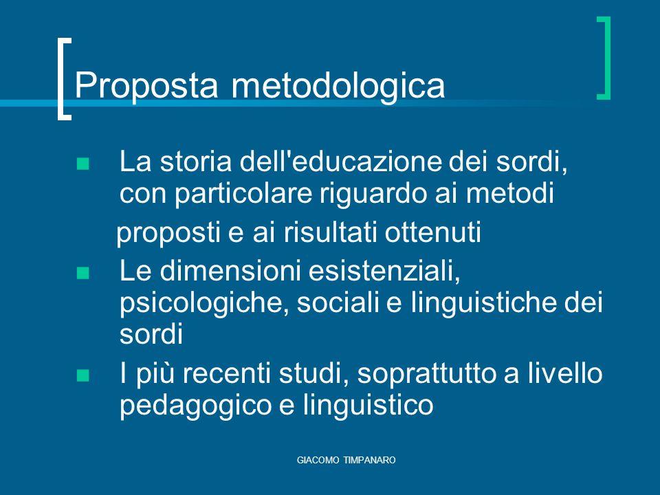 GIACOMO TIMPANARO Conseguenze della sordità Acquisizione del linguaggio verbale Comunicazione con il linguaggio verbale Carenze esperienziali (probabili) Difficoltà socio-relazionali (possibili)