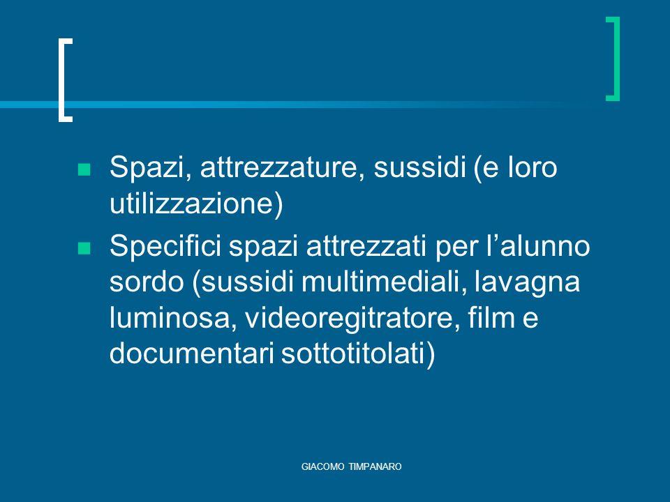 GIACOMO TIMPANARO Spazi, attrezzature, sussidi (e loro utilizzazione) Specifici spazi attrezzati per lalunno sordo (sussidi multimediali, lavagna luminosa, videoregitratore, film e documentari sottotitolati)